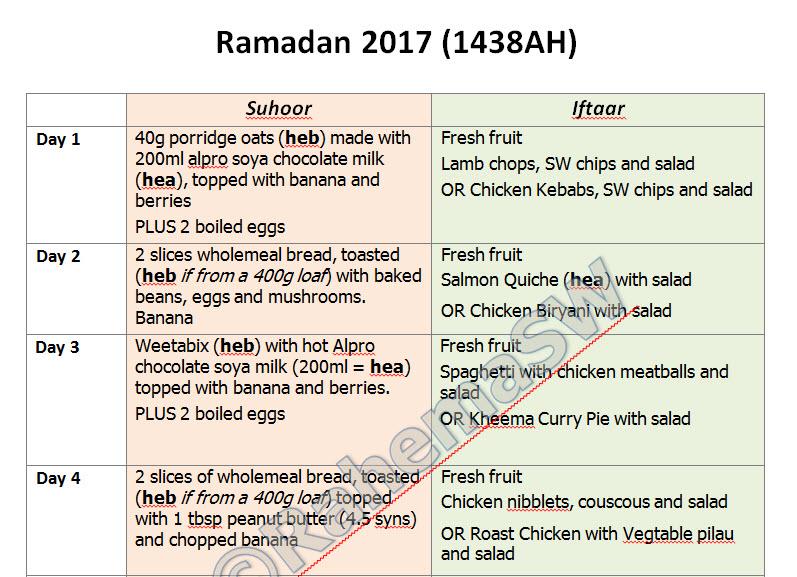 Ramadan 2017 Meal Planner