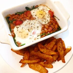 Baked Eggs with Spinach & Tomatoes